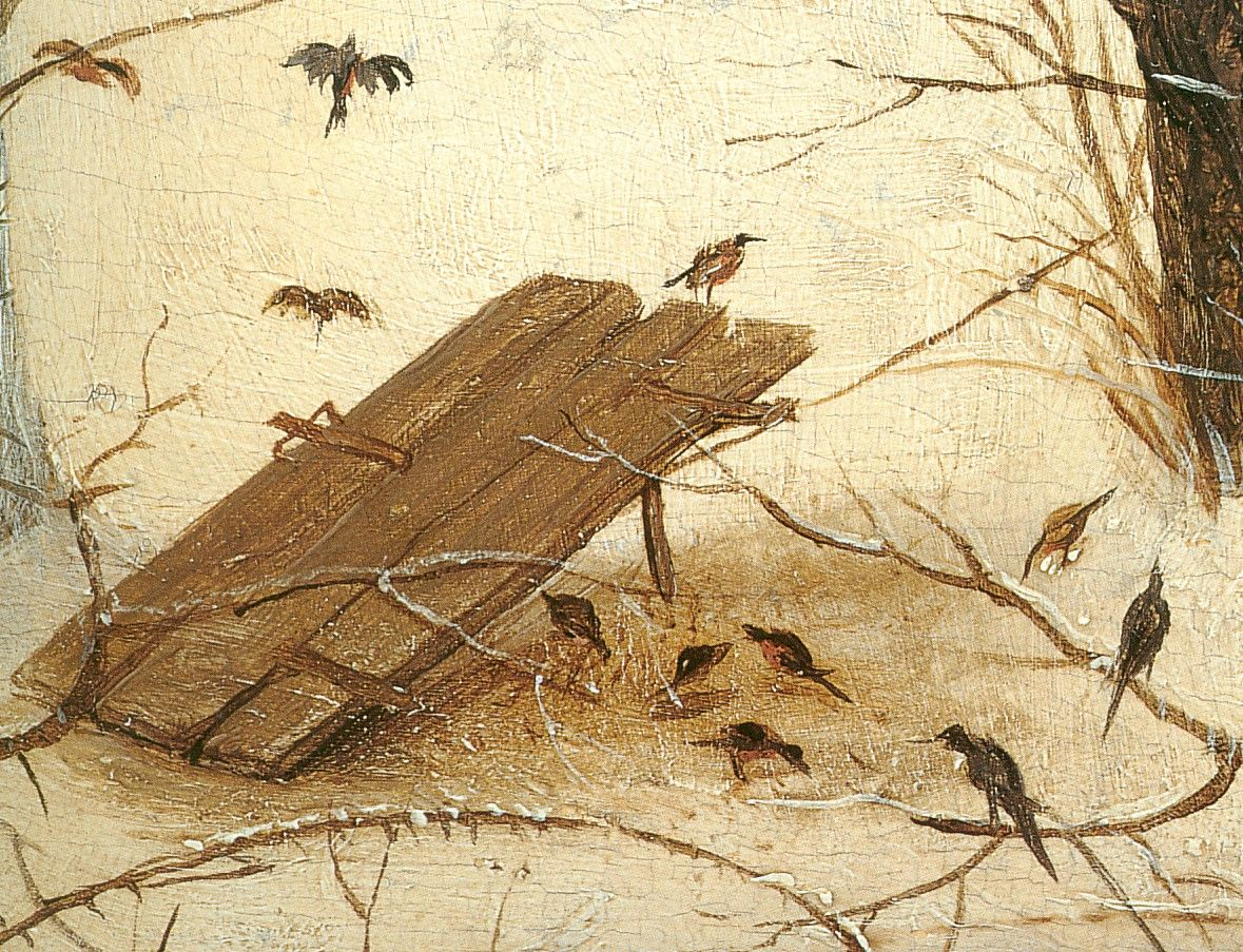 best images about p aacute jaros ocells birds pablo pieter bruegel the elder the hunters in the snow detail birds painting