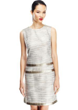 ELIZA J Sleeveless Shift Dress with Leather Inset Detail @ideeli