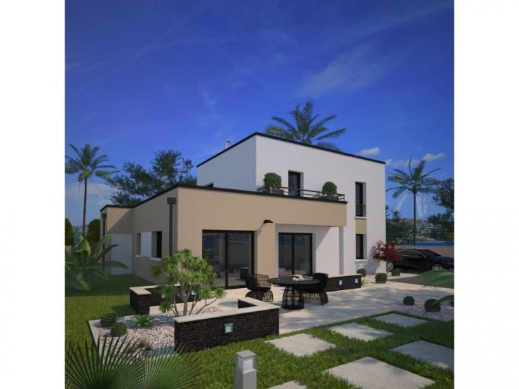 Mod le eco concept maison moderne tage de 110m2 3 chambres 1 suite parentale maison - Petite maison toit plat ...