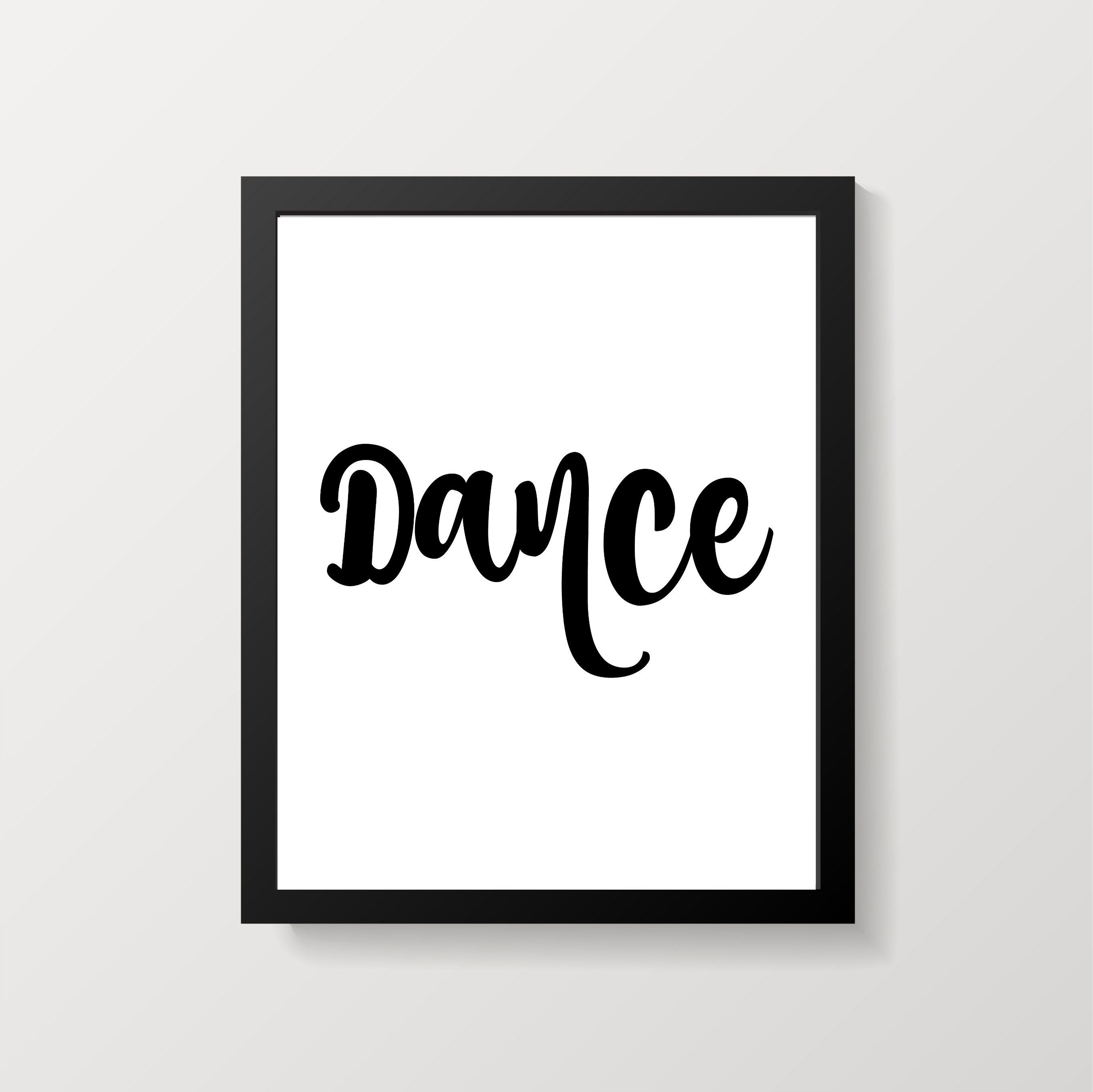 Dance Word Art Typography Print 8 X 10 Black And White
