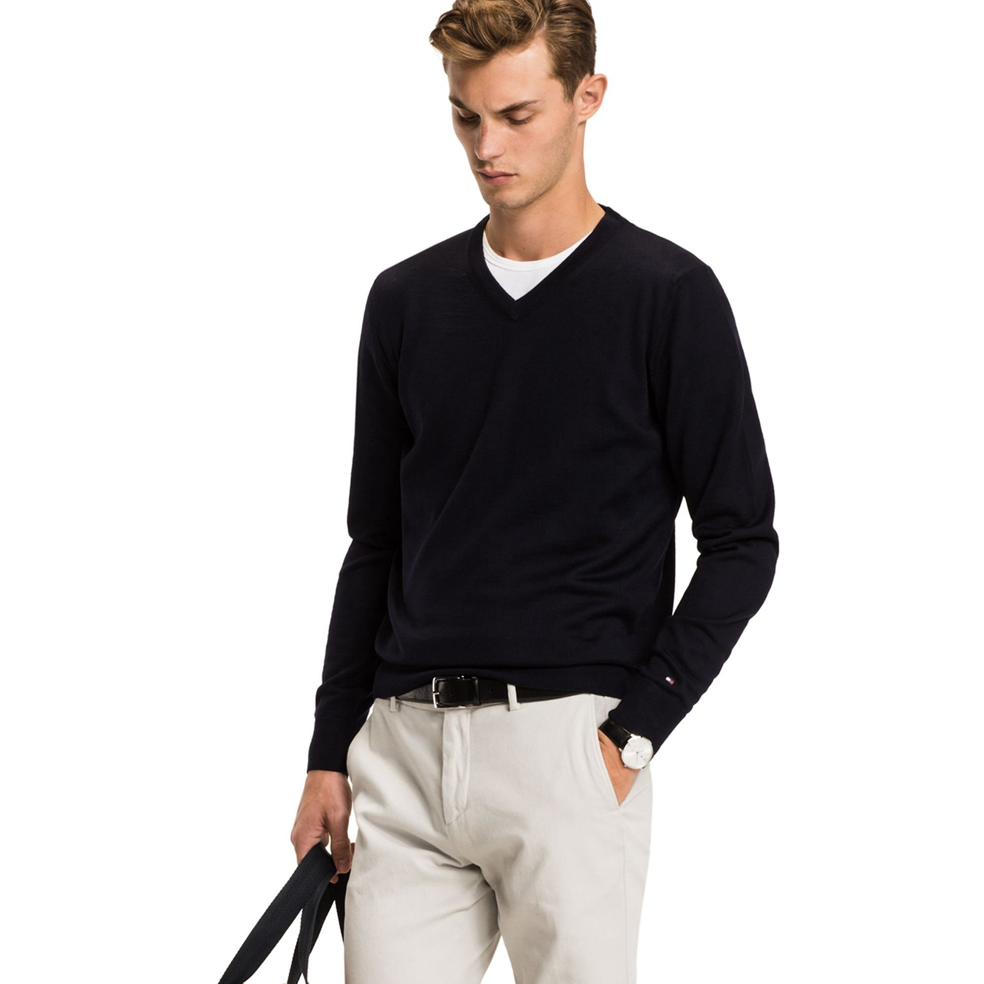 db702459b94 TOMMY HILFIGER TAILORED COLLECTION LUXURY WOOL V-NECK SWEATER - SKY ...
