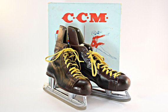Hockey Skates, Vintage Hockey Skates, CCM Hockey Skates, Men's Hockey Skates, Sports Memorabilia, Man Cave Decor, Sports Theme Decor