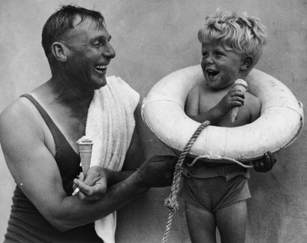 Is this 1937 photo a metaphor for ice cream saving lives? I approve.