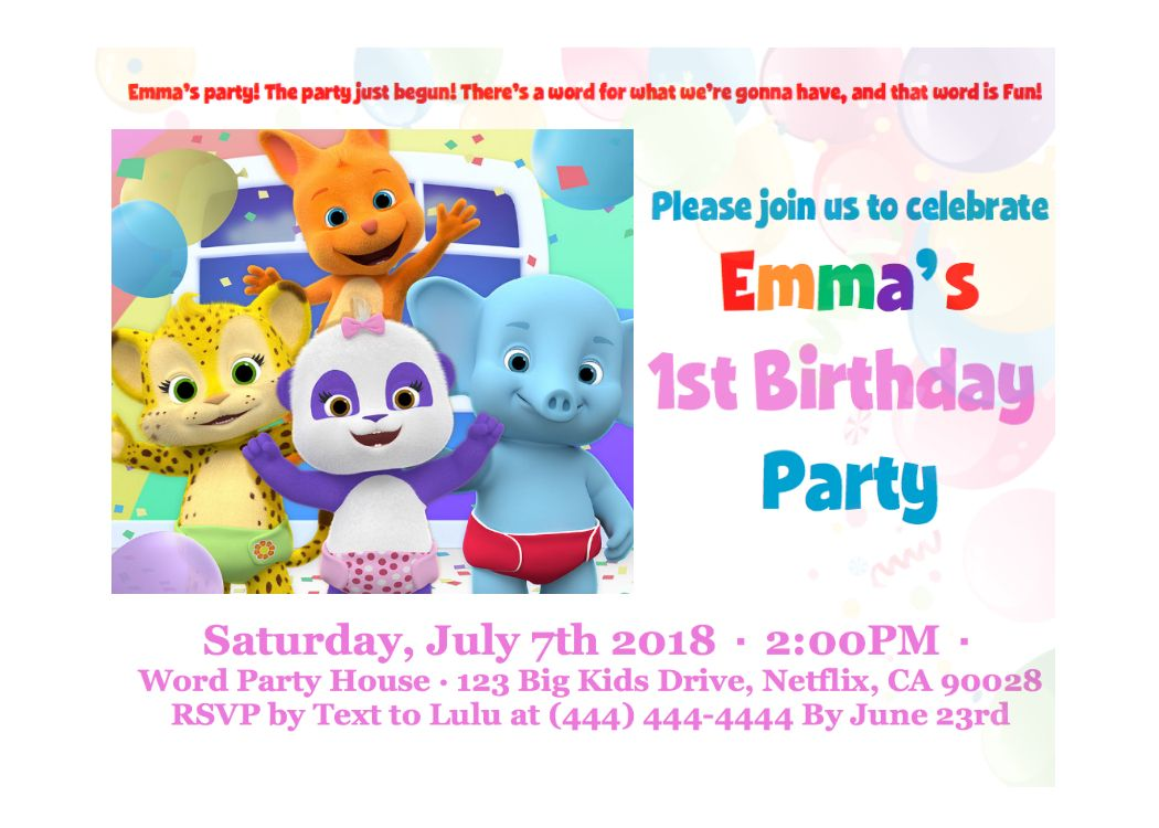 Word Party Netlfix Birthday Invitation