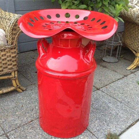 A Milk Can Tractor Seat Stool I Salvaged And Painted