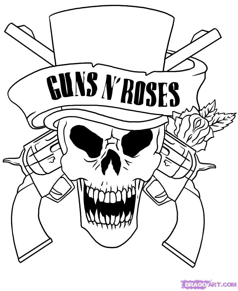 skull adult fantasy vampire guns n\' roses coloring pages | Fantasy ...