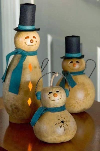 Mu ecos de nieve hechos con bules zapallos auyamas - Ideas decorativas navidenas ...