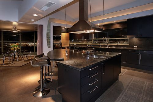beautiful kitchen island. with the stove in the middle