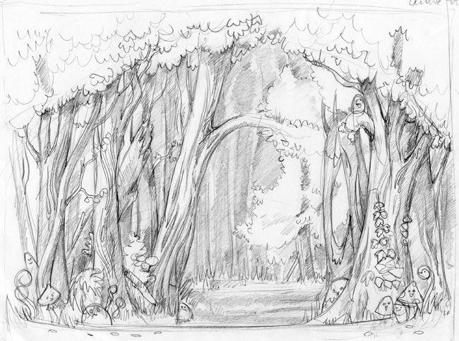 сказочный лес рисунки карандашом без