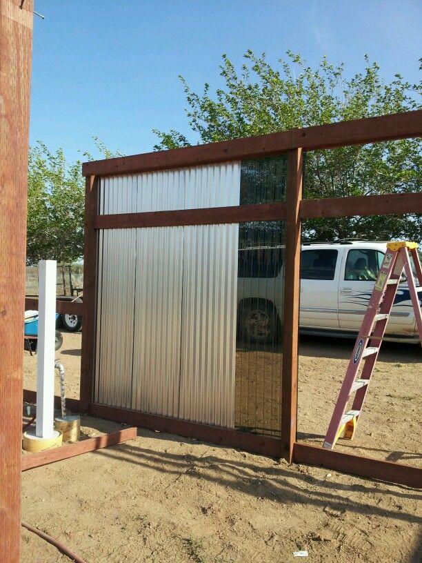 Easy Pool Deck W Privacy Screen: Corrugated Panels For Patio Windbreak.