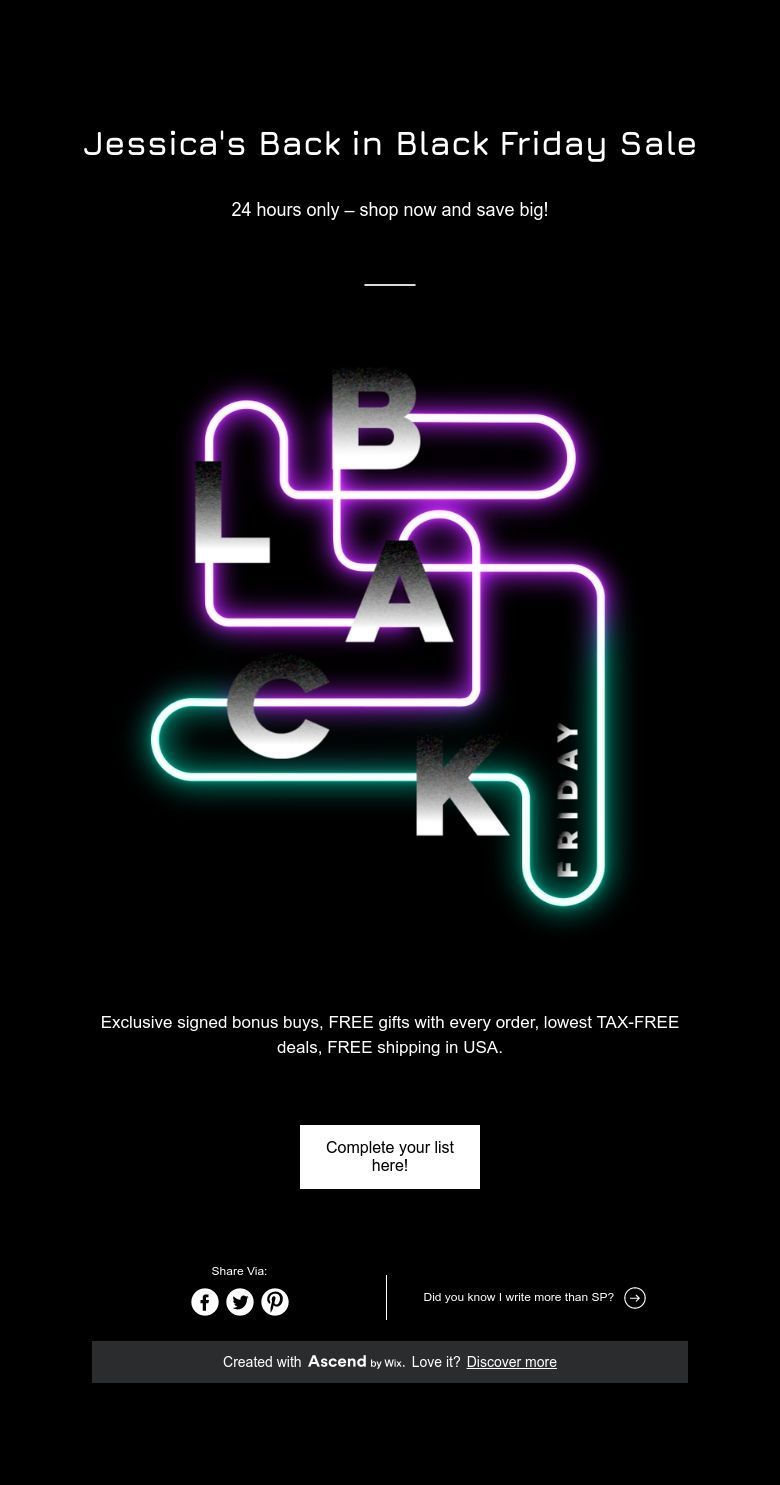 Jessica S Back In Black Friday Sale Black Friday Sale Black Friday Back To Black