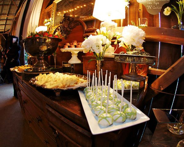 dessert table at the barn by Sweetpea Bakery