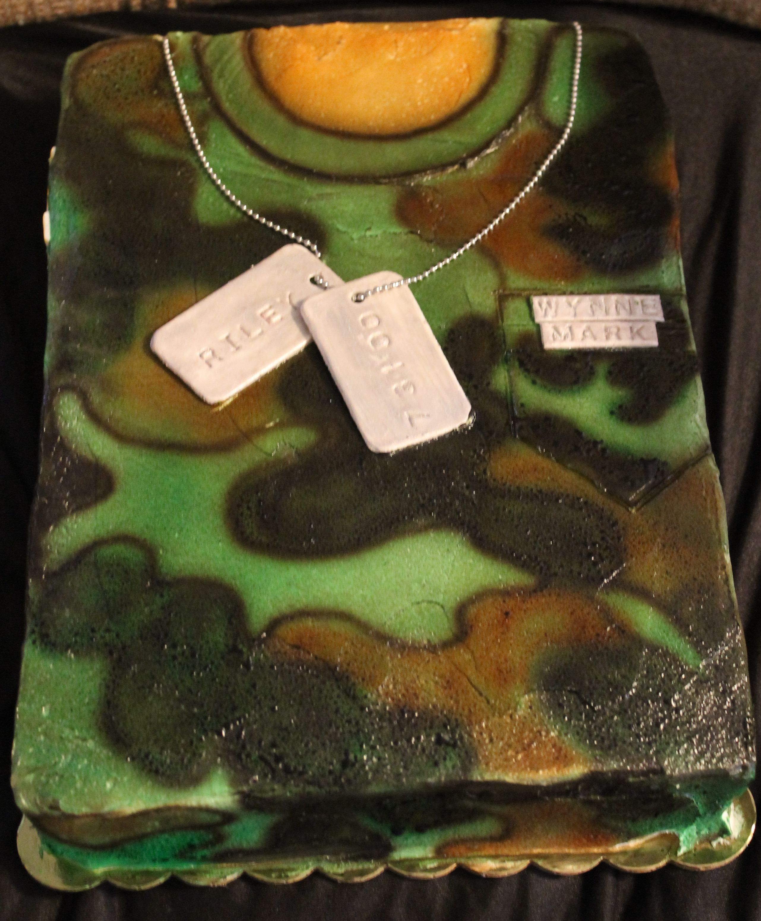 Camo shirt with personalized dog tags. cake by Brenda