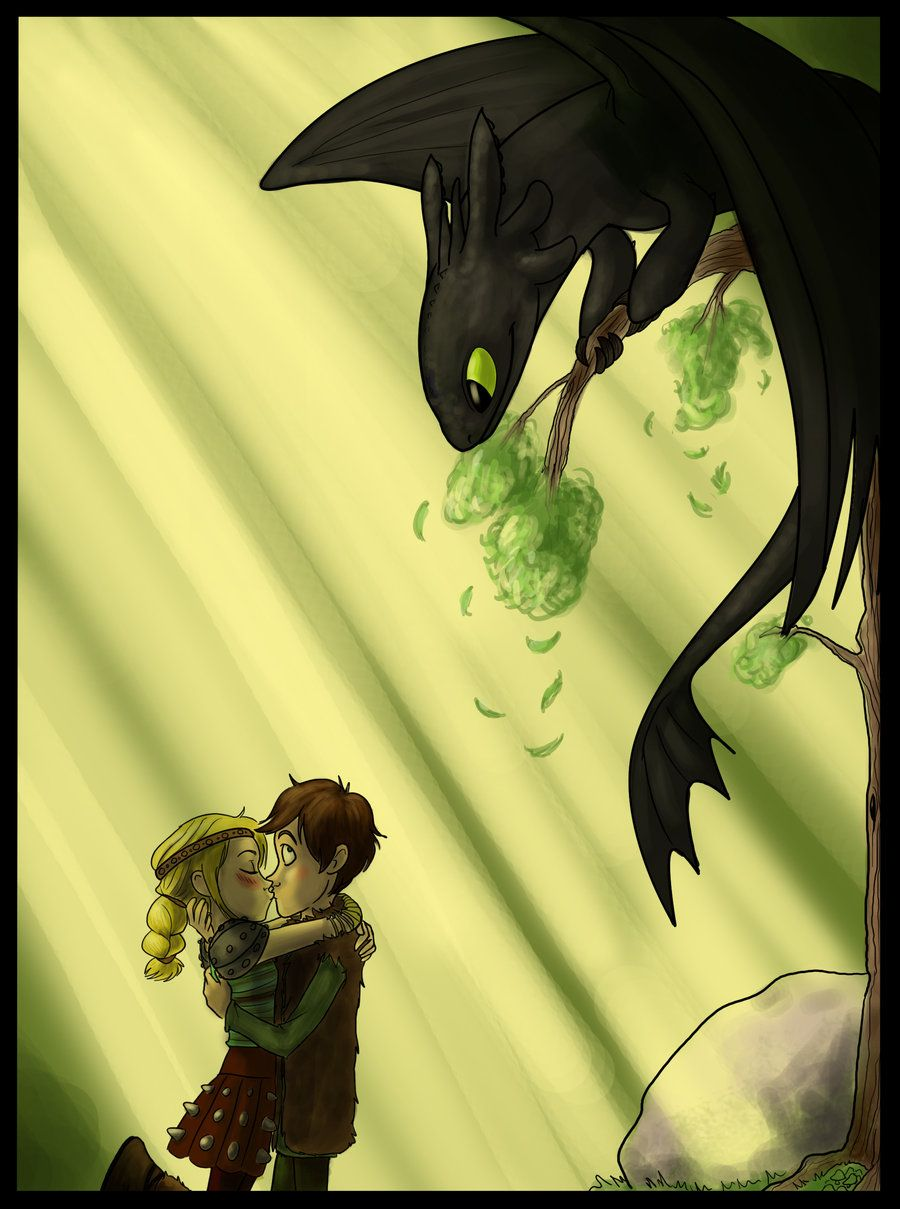 Hiccup And Astrid Kissing With Toothless Watching Them Secretlyke  Ninja Lol · Dragon 2train Your Dragonhow