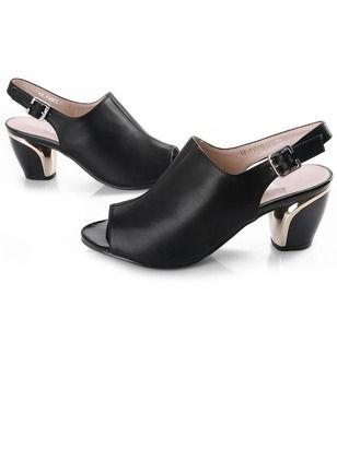 c02f5c6247d Women s Sandals Peep Toe Slingbacks Chunky Heel Leatherette Shoes - Floryday    floryday.com