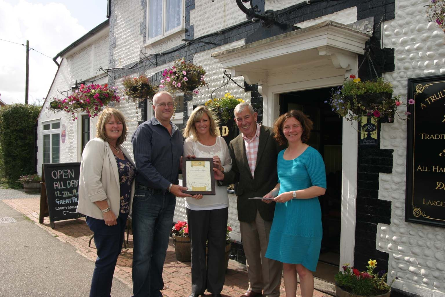 """Julia Prescott, Mark and Anita Haffenden, Jim Buttress and Adele Smith at the King's Head. """"Best Newcomer"""""""