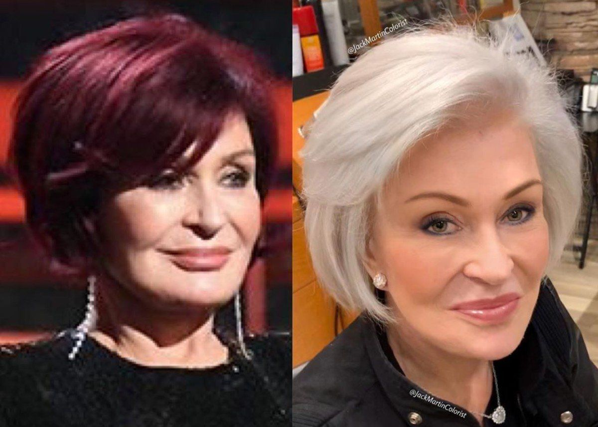 Sharon Osbourne Shows Off New Snow White Hair And Looks Gorgeous Check Out The Photos In 2020 Sharon Osbourne Hair Hair Transformation Sharon Osbourne