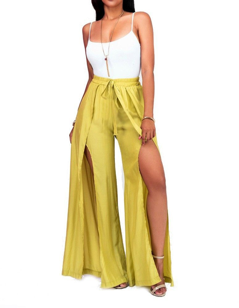 655bfad6deec White Cami Top Yellow Wide Leg Side Slit Pants Casual Jumpsuit Outfit