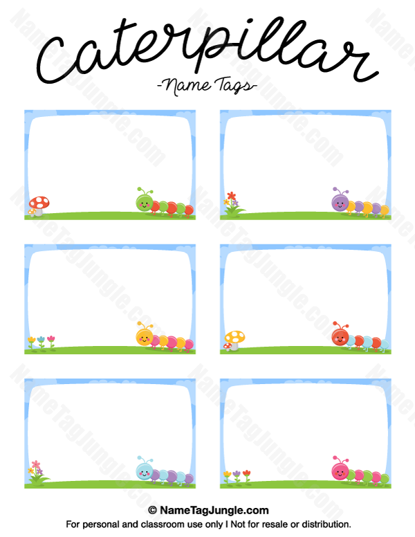 Lively image in printable name tags for preschool