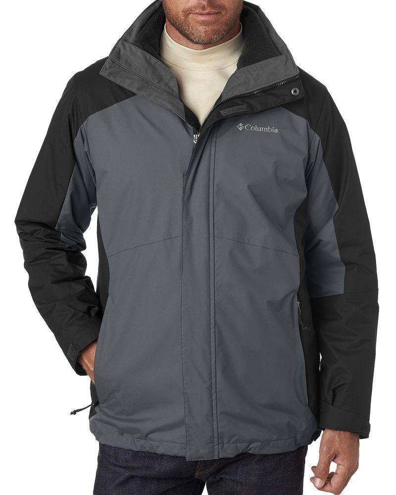 1f374267 New Columbia Jacket Men's Interchange 3-1 Black and Graphite M-2XL #Columbia