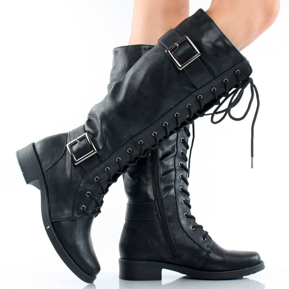 black lace up buckle tall combat military women flat knee