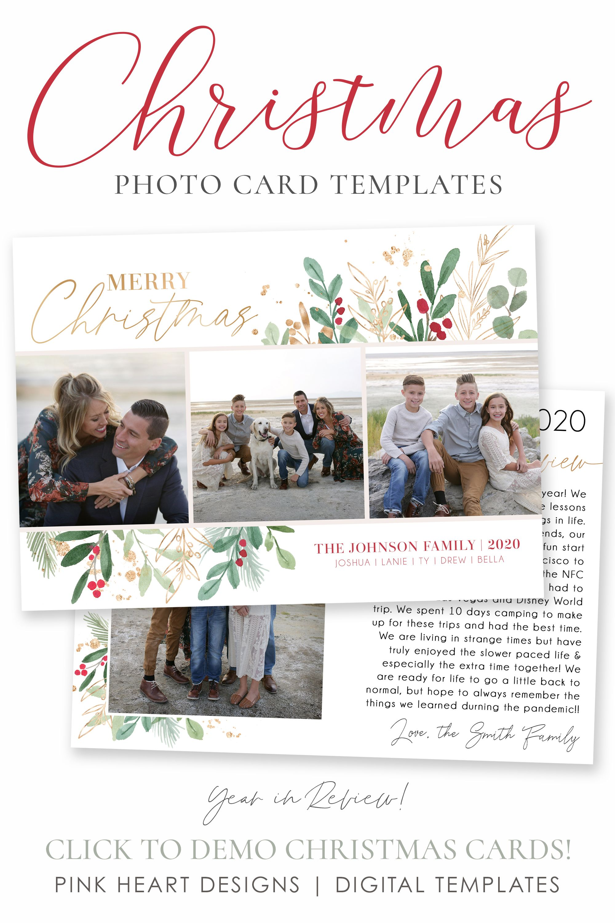 Year In Review Template Christmas Cards Template 5x7 Photo Etsy Holiday Card Template Christmas Card Template Christmas Card Templates Free