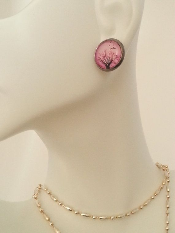 Small Stud Earrings   Pink Trees with birds 12mm  by MagnoliaAlley, $7.50