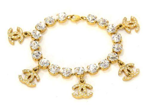 Chanel Goldtone & Rhinestone Charm Bracelet