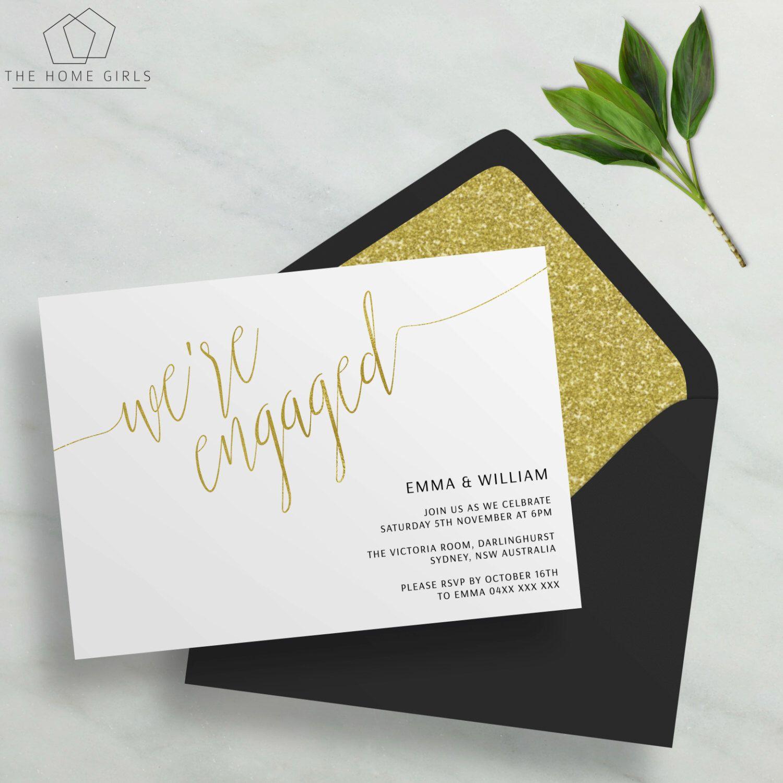 Printable Engagement Invitation Gold Foil Editable Template