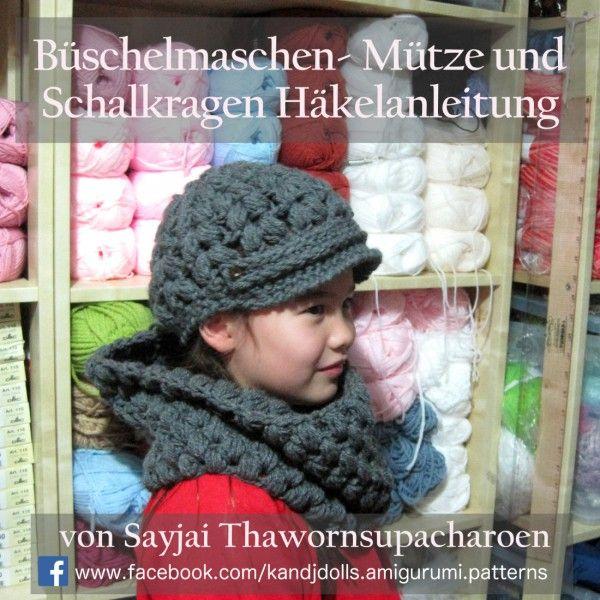 Häkelanleitung | Kostenlos - Büschelmaschen- Mütze und Schalkragen ...