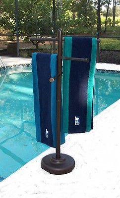 Details About Outdoor Portable Towel Holder Rack Pool Patio Spa Yard Metallic Bronze Color