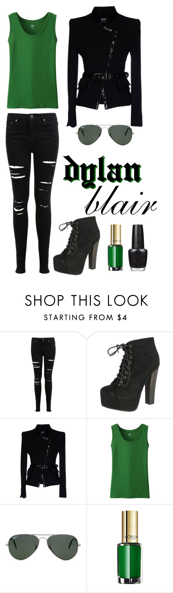 Dylan Blair by shannonparnell on Polyvore featuring Uniqlo, Gai Mattiolo, Miss Selfridge, Breckelle's, Ray-Ban, OPI, L'Oréal Paris and slytherin