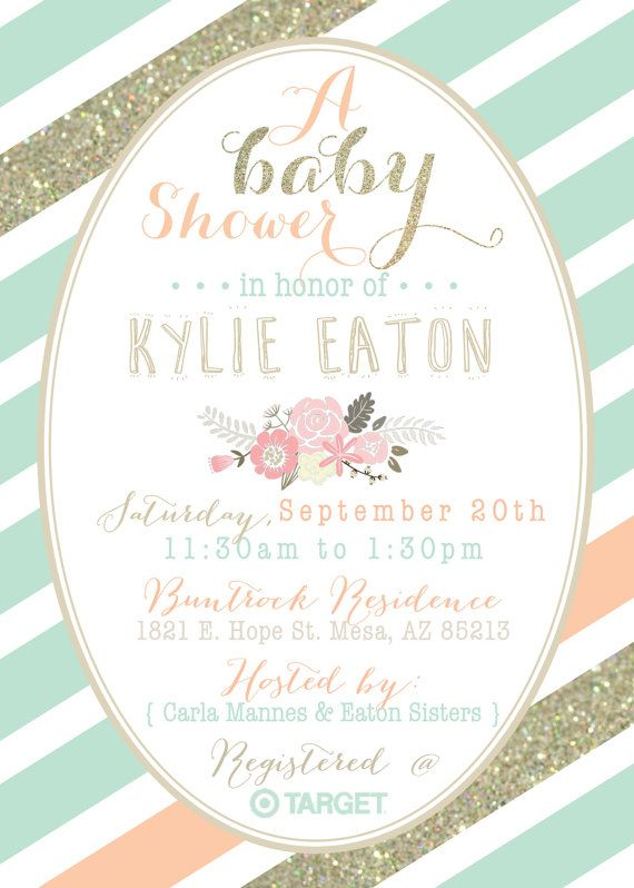 Mint Peach And Gold Baby Shower Invitation By DubDubDesigns