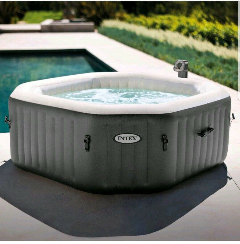 120 Bubble Jets 4 Person Octagonal Portable Inflatable Hot Tub Spa