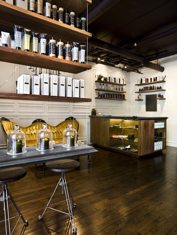 BARBERSHOP INSPO: Example With Floating Cable Cord Shelves, Glass  Containers Over Apothecary/products