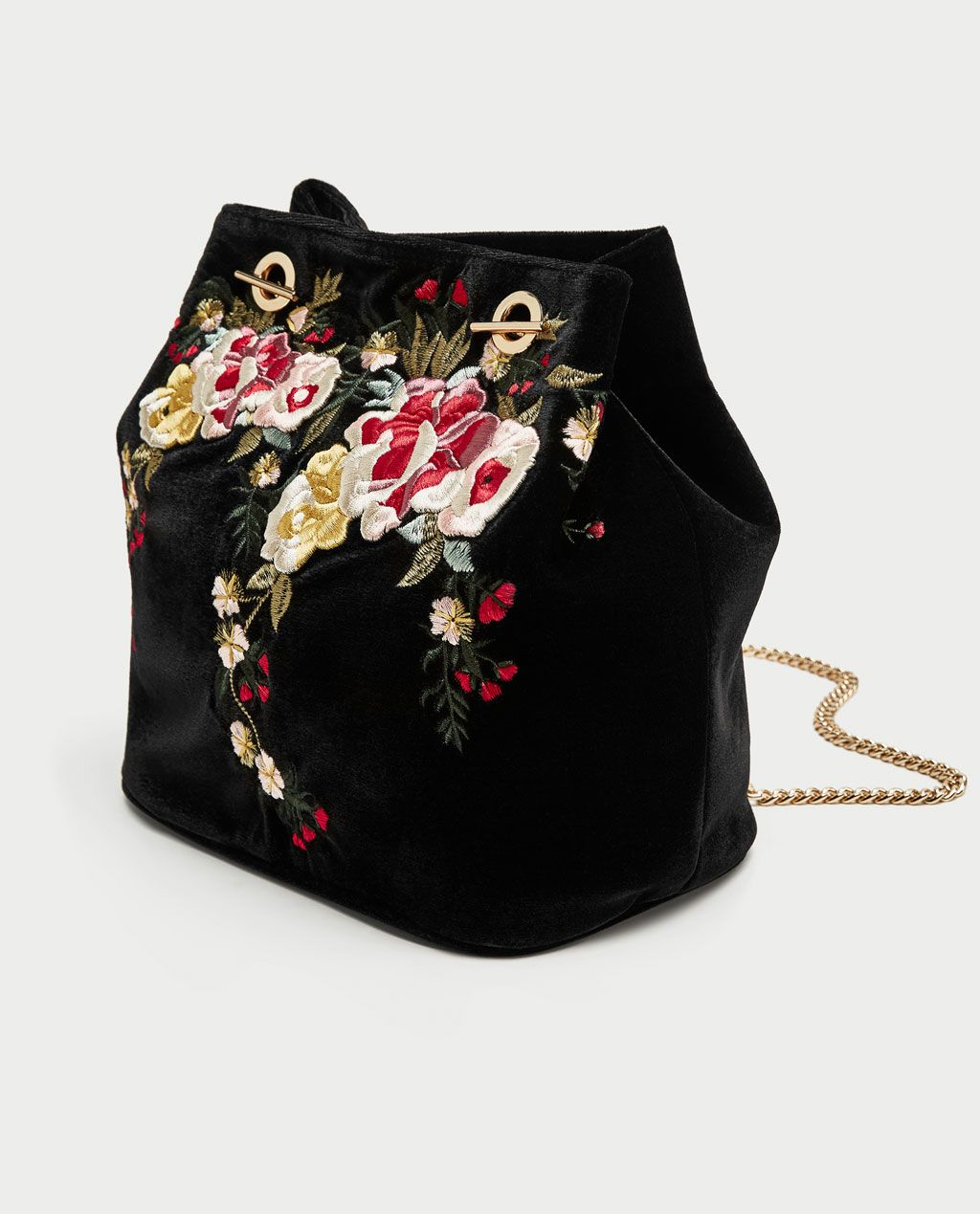 bc51a975f7d3 Image 3 of EMBROIDERED VELVET BUCKET BAG from Zara