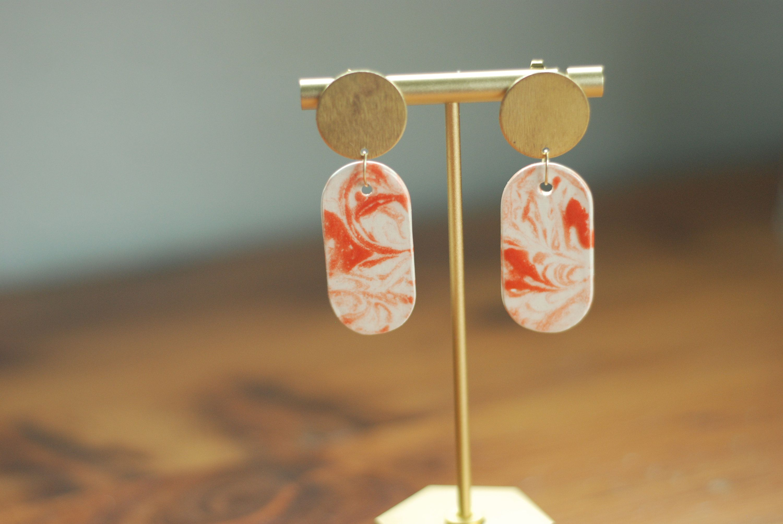 Ceramic earrings orange marbled oval etsy in 2020