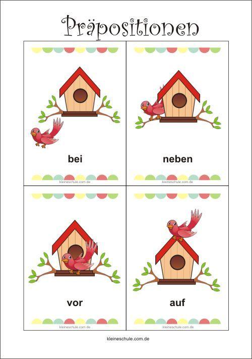 Präpositionen Lernkarten | Lernkarten für Kinder | Pinterest ...