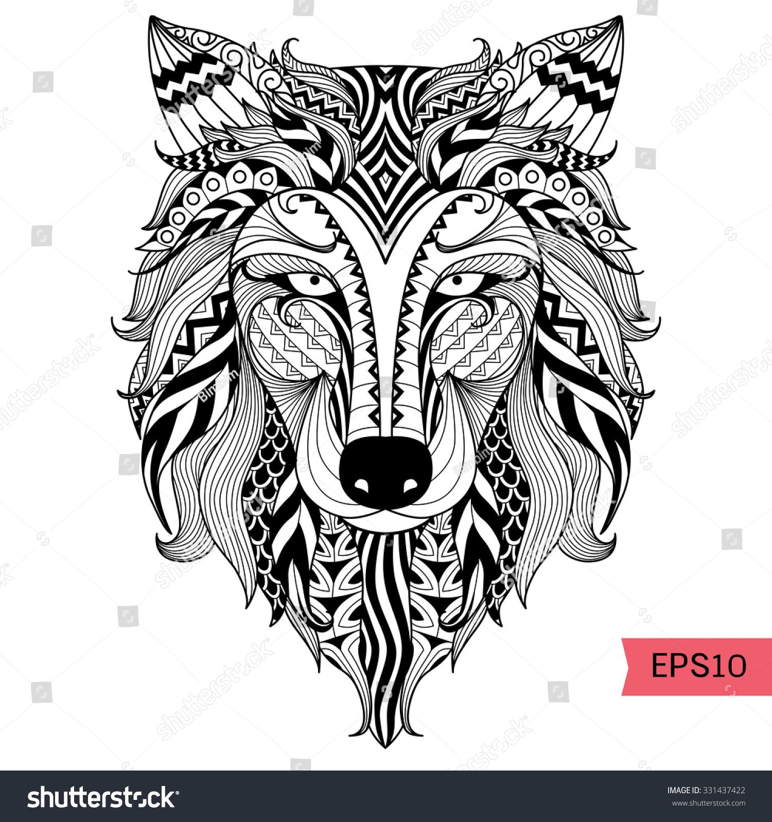 Detail zentangle wolf for coloring page,tattoo, t shirt design ...