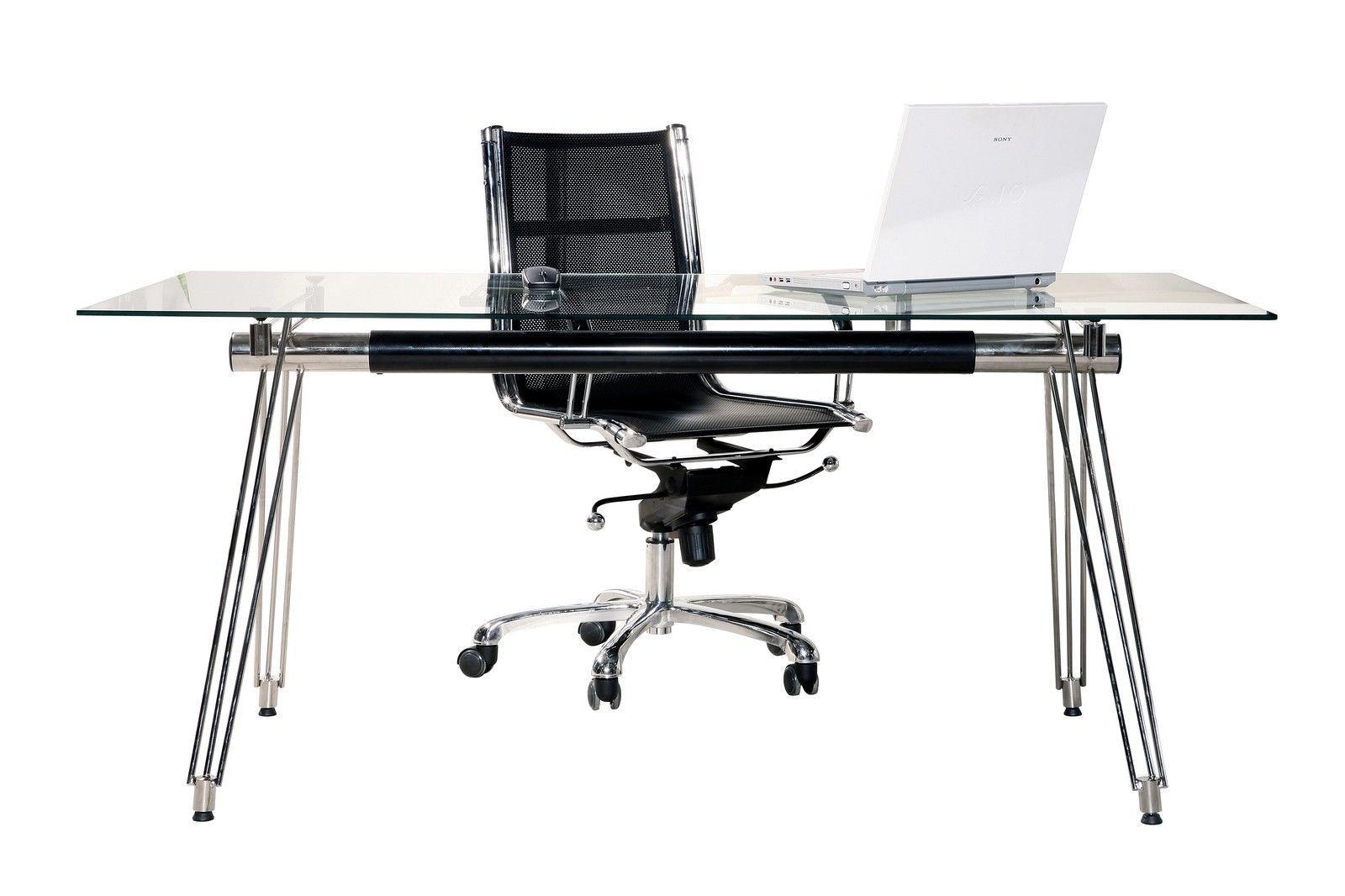Bureau design en verre cm ue chrome noir meuble table