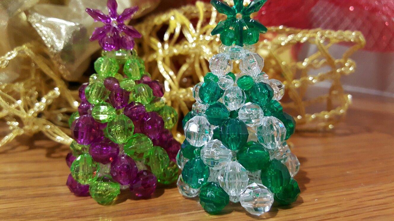 Beaded Christmas trees Beaded christmas ornaments