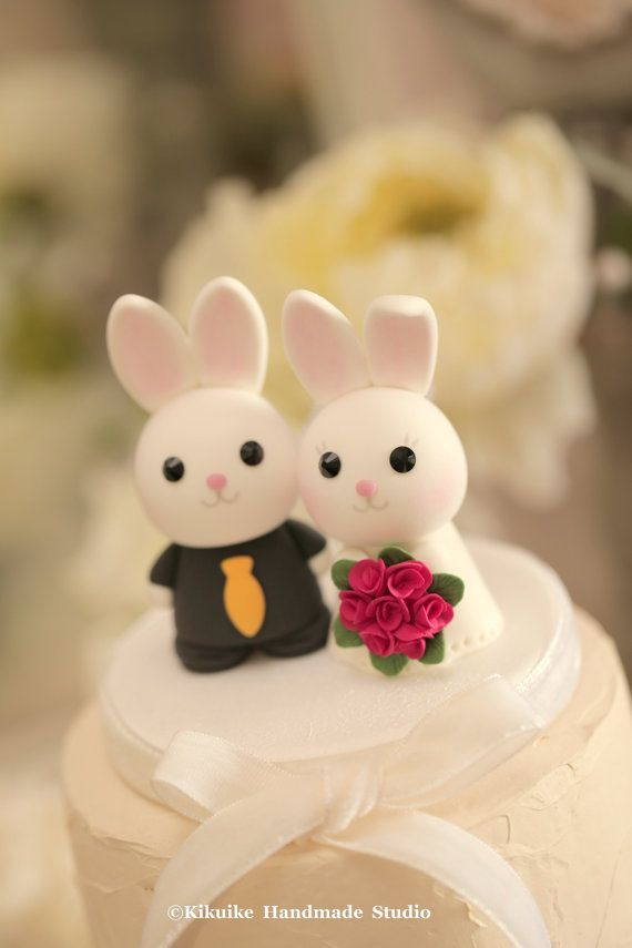 Bunny Wedding Cake Topper Rabbit Wedding Cake Topper With