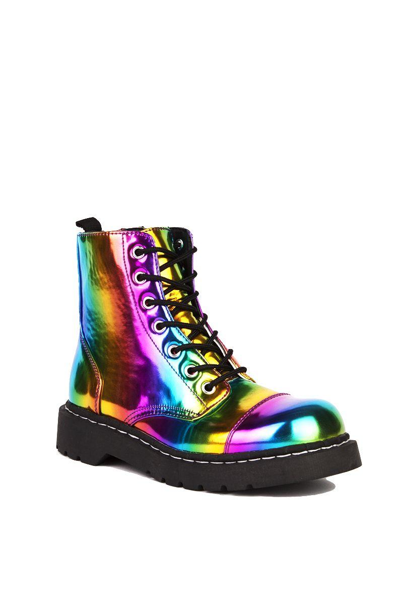 Rainbow Combat Boot in Rainbow