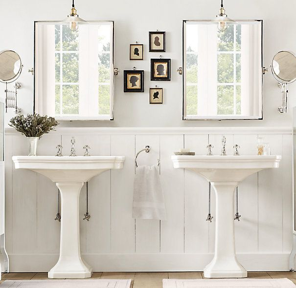 Restoration Hardware Amazing Bathroom With His And Her Pedestal