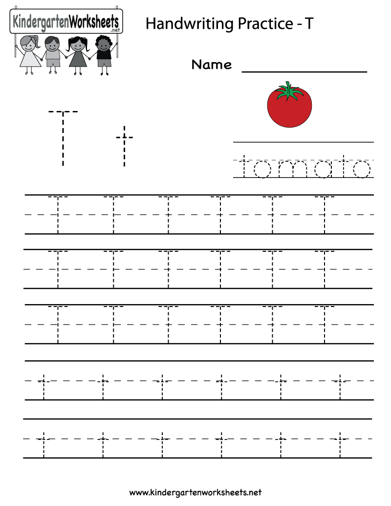 Letter T Worksheets: Kindergarten Letter T Writing Practice Worksheet Printable    ,