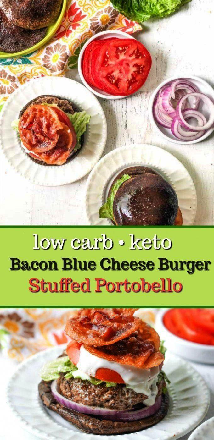 Blue Cheese Keto Burger Stuffed Portobello - a delicious low carb bun-less way to eat a burger.Baco