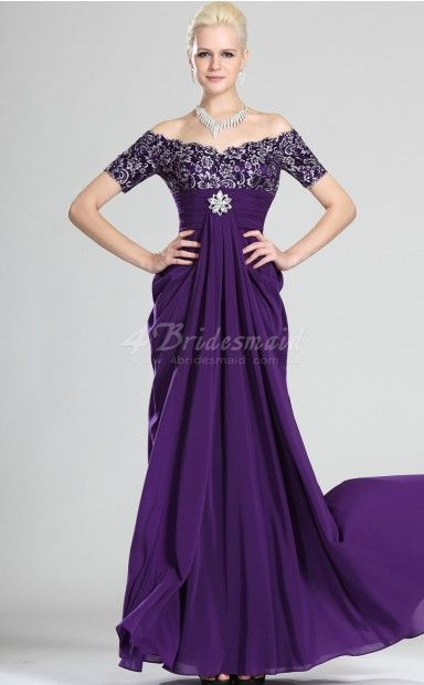 Lace Floor-length Off The Shoulder With Sleeves A-line Evening Dresses(MBD057)