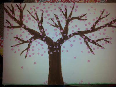 Cherry Blossom Tree Craft Do This With Soda Bottle Technique Blossom Trees Cherry Tree Cherry Blossom Tree