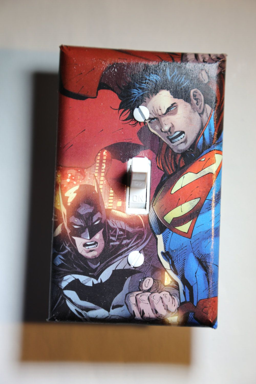 Unique Batman Vs Superman Bedroom Ideas That Rock: Batman Vs Superman Light Switch Plate Cover Comic Book