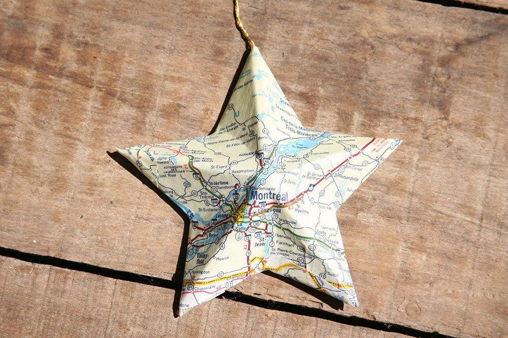 Montreal, Québec, Canada - Vintage Map Covered Star Ornament - Home ...